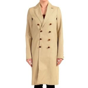 Dsquared2 Silk Brown Double Breasted Basic Coat